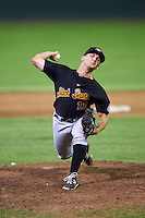 West Virginia Black Bears relief pitcher Brandon Bingel (13) during a game against the Batavia Muckdogs on August 20, 2016 at Dwyer Stadium in Batavia, New York.  Batavia defeated West Virginia 7-2.  (Mike Janes/Four Seam Images)