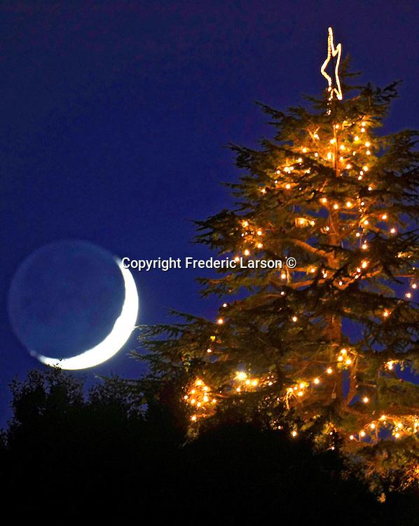 Crescent moon over Chrismas Tree Hill in Corte Madera, California.