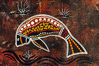 illustration, Ausralian aboriginal artwork painted on canvas, owned by the photographer, unknown artists, dugong or sea cow, Dugong dugon, Northern Territory, Austrialia, Arafura sea
