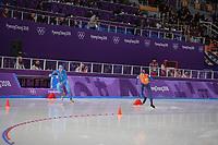 OLYMPIC GAMES: PYEONGCHANG: 14-02-2018, Gangneung Oval, Long Track, 10.000m Men, Davide Ghiotto (ITA), Jorrit Bergsma (NED), ©photo Martin de Jong