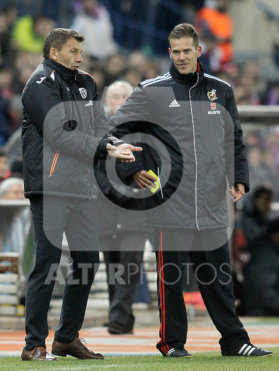 Valencia's coach Miroslav Djukic have words with the fourth referee during La Liga match.December 15,2013. (ALTERPHOTOS/Acero)