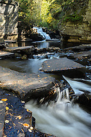 An early autumn view of the Sturgeon River Gorge in Michigan's Upper Peninsula. In the distance is the beautiful Canyon Falls. Alberta, MI