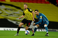 26th December 2020; Vicarage Road, Watford, Hertfordshire, England; English Football League Championship Football, Watford versus Norwich City; Tom Cleverley of Watford under pressure from Mario Vrancic of Norwich City