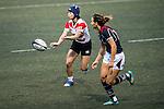 Mayu Shimizu (l) competes against Hong Kong during the Womens Rugby World Cup 2017 Qualifier match between Hong Kong and Japan on December 17, 2016 in Hong Kong, Hong Kong. Photo by Marcio Rodrigo Machado / Power Sport Images