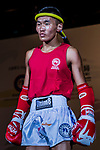 Amarjargal Nyamlkhagva (Red) of Mongolia enters to the ring prior the male muay 51KG division weight bout against  Ieong Pan (Not in picture) of Macau in during the East Asian Muaythai Championships 2017 at the Queen Elizabeth Stadium on 11 August 2017, in Hong Kong, China. Photo by Yu Chun Christopher Wong / Power Sport Images