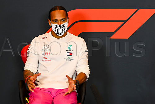 30th October 2020, Imola, Italy; FIA Formula 1 Grand Prix Emilia Romagna, inspection day;  44 Lewis Hamilton GBR, Mercedes-AMG Petronas Formula One Team , during the driver press conference