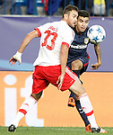 Atletico de Madrid's Angel Correa (r) and SL Benfica's Jardel during Champions League 2015/2016 match. September 30,2015. (ALTERPHOTOS/Acero)