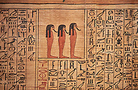 Ancient Egyptian Book of the Dead papyrus - From  tomb of Kha, Theban Tomb 8 , mid-18th dynasty (1550 to 1292 BC), Turin Egyptian Museum.