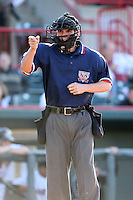 June 10th 2008:  Home plate umpire Chris Hamner before a game between the Erie Seawolves, Class-AA affiliate of the Detroit Tigers, and Portland Seadogs, Class-AA affiliate of the Boston Red Sox at Jerry Uht Park in Erie, PA.  Photo by:  Mike Janes/Four Seam Images