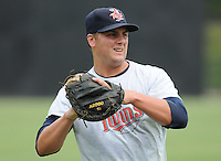 July 15, 2009: 2009 draft pick catcher Tobias Streich (13) of the Elizabethton Twins, 5th round draft pick of the Minnesota Twins, prior to a game against the Danville Braves at Dan Daniel Memorial Park in Danville, Va. Photo by:  Tom Priddy/Four Seam Images