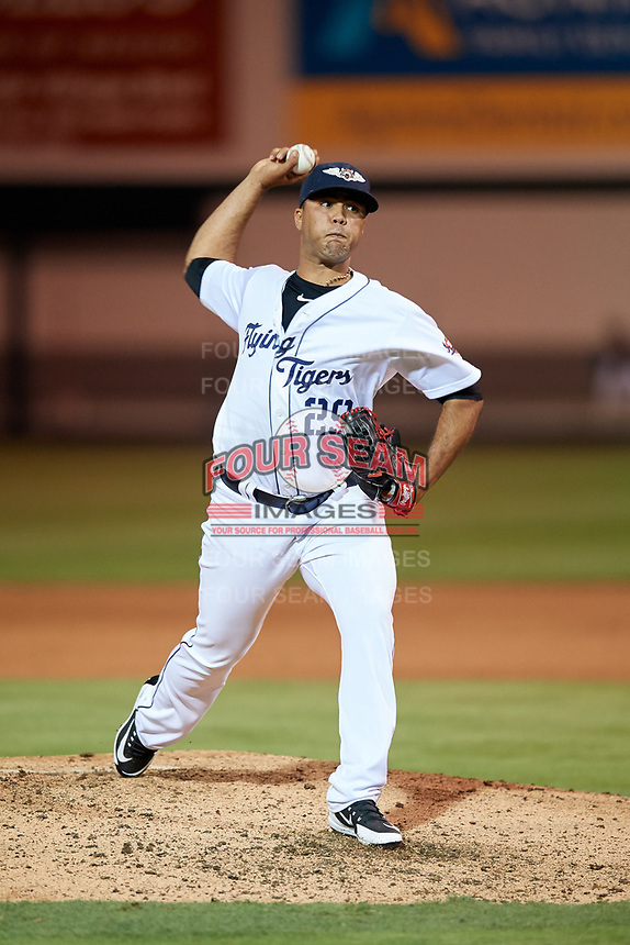 Lakeland Flying Tigers relief pitcher Eduardo Jimenez (29) delivers a pitch during the second game of a doubleheader against the Bradenton Marauders on April 11, 2018 at Publix Field at Joker Marchant Stadium in Lakeland, Florida.  Bradenton defeated Lakeland 1-0.  (Mike Janes/Four Seam Images)