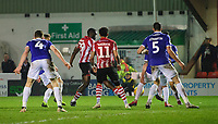 Lincoln City's John Akinde scores his side's equalising goal to make the score 1-1<br /> <br /> Photographer Chris Vaughan/CameraSport<br /> <br /> The EFL Sky Bet League Two - Lincoln City v Exeter City - Tuesday 26th February 2019 - Sincil Bank - Lincoln<br /> <br /> World Copyright © 2019 CameraSport. All rights reserved. 43 Linden Ave. Countesthorpe. Leicester. England. LE8 5PG - Tel: +44 (0) 116 277 4147 - admin@camerasport.com - www.camerasport.com