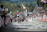 a happy race winner Pauline Ferrand Prevot (FRA/Rabobank-Liv) crossing the finish line ahead of Elizabeth Armistead (GBR/Boels-Dolmans)<br /> <br /> La Flèche Wallonne 2014