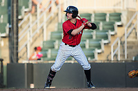 Luis Gonzalez (6) of the Kannapolis Intimidators at bat against the Delmarva Shorebirds at Kannapolis Intimidators Stadium on July 2, 2017 in Kannapolis, North Carolina.  The Shorebirds defeated the Intimidators 5-4.  (Brian Westerholt/Four Seam Images)