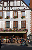 main street cafe terrace ribeauville alsace france