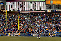 Oct 23, 2005; Seattle, Wash, USA;  Seattle Seahawks quarterback #8 Matt Hasselbeck runs off the field after throwing a touchdown with 40 seconds remaining in the game against the Dallas Cowboys at Qwest Field. Mandatory Credit: Photo By Mark J. Rebilas