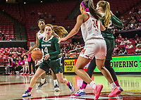COLLEGE PARK, MD - FEBRUARY 03: Taryn McCutcheon #4 of Michigan State dribbles towrds Stephanie Jones #24 of Maryland during a game between Michigan State and Maryland at Xfinity Center on February 03, 2020 in College Park, Maryland.