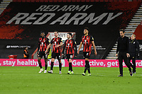 AFC Bournemouth Manager Jason Tindall right and players walk towards the home fans at the end of the match during AFC Bournemouth vs Huddersfield Town, Sky Bet EFL Championship Football at the Vitality Stadium on 12th December 2020