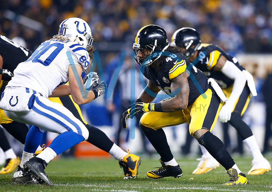 Bud Dupree #48 of the Pittsburgh Steelers in action against the Indianapolis Colts during the game at Heinz Field on December 6, 2015 in Pittsburgh, Pennsylvania. (Photo by Jared Wickerham/DKPittsburghSports)