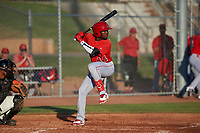 AZL Angels Julio De La Cruz (44) at bat during a game against the AZL Giants Orange at Giants Baseball Complex on June 17, 2019 in Scottsdale, Arizona. AZL Giants Orange defeated AZL Angels 8-4. (Zachary Lucy/Four Seam Images)