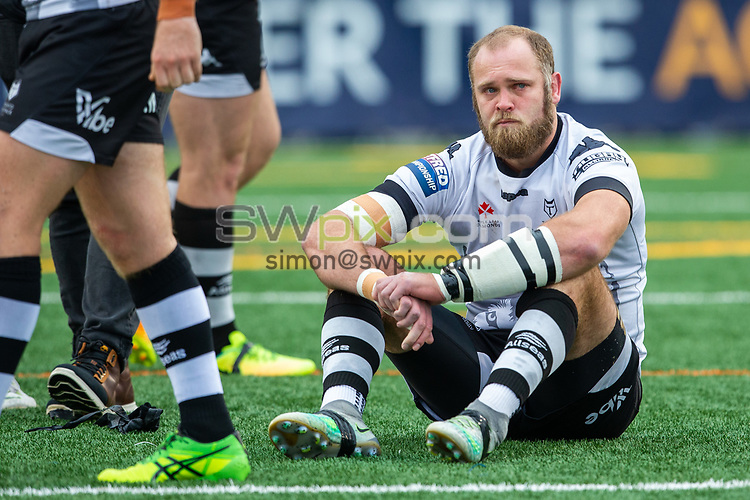 Picture by Kevin Sousa/SWpix.com - 07/10/2018 - Rugby League - Betfred Super League - The Qualifiers - Million Pound Game - Toronto Wolfpack v London Broncos - Lamport Stadium, Toronto, Canada - Richard Whiting #22 of the Toronto Wolfpack reacts after losing to the London Broncos in the One Million Pound Match.