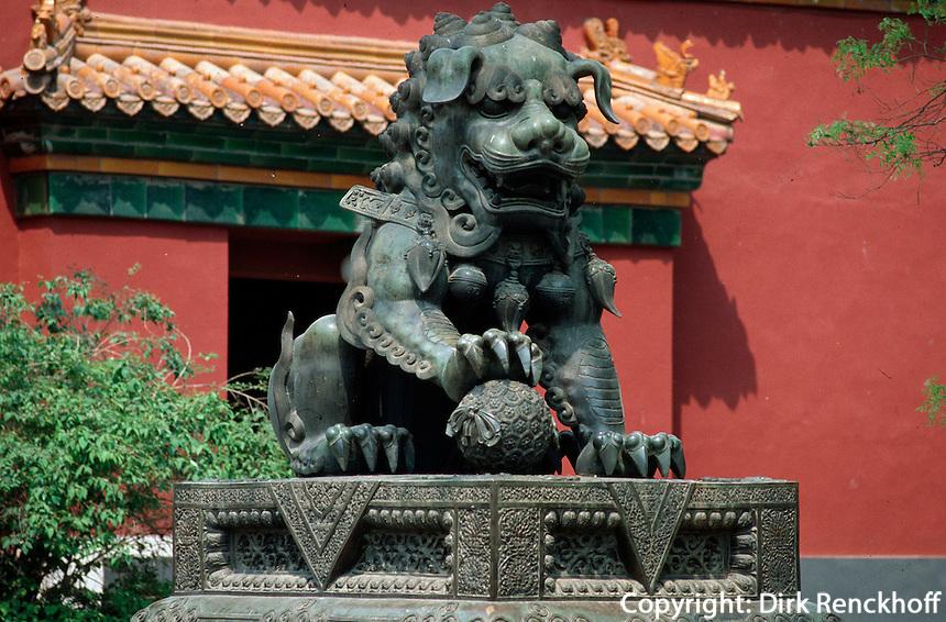 China, Lama-Tempel in Peking, Löwe im 1. Innenhof
