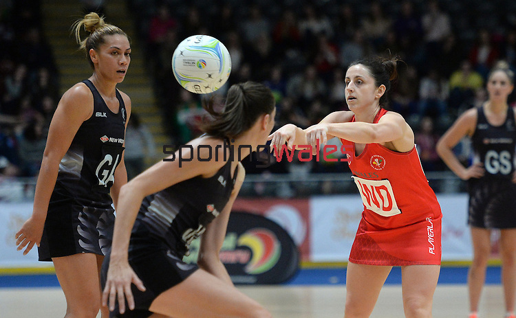 Wales Suzy Drane (Capt) in action during todays match   <br /> <br /> Swansea University International Netball Test Series: Wales v New Zealand<br /> Ice Arena Wales<br /> 08.02.17<br /> ©Ian Cook - Sportingwales