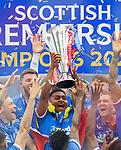 15.05.2021 Rangers v Aberdeen: Alfredo Morelos with the SPFL Premiership league trophy