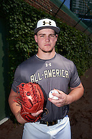 Jonathan Gettys (33) of Gainesville High School in Gainesville, Georgia poses for a photo before the Under Armour All-American Game on August 15, 2015 at Wrigley Field in Chicago, Illinois. (Mike Janes/Four Seam Images)