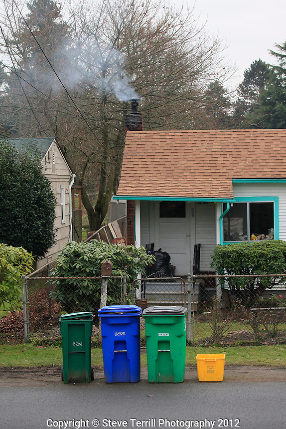 Recycling bins in Portland Oregon