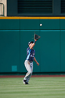 West Michigan Whitecaps center fielder Luke Burch (27) settles under a fly ball during a game against the Fort Wayne TinCaps on May 17, 2018 at Parkview Field in Fort Wayne, Indiana.  Fort Wayne defeated West Michigan 7-3.  (Mike Janes/Four Seam Images)