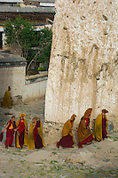 Tibet Landscapes and aerials Monks from the Gelupa (Yellow Hat) Sect and the Fifth Dalai Lama at a Monastery, Tibet