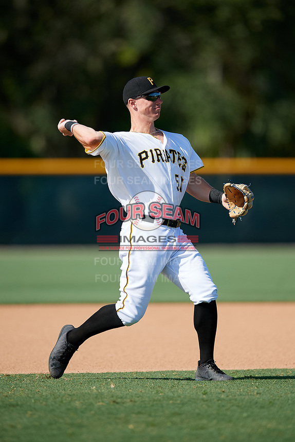 GCL Pirates third baseman Patrick Dorrian (50) throws to first base during a game against the GCL Yankees West on August 2, 2018 at Pirate City Complex in Bradenton, Florida.  GCL Pirates defeated GCL Yankees West 6-2.  (Mike Janes/Four Seam Images)