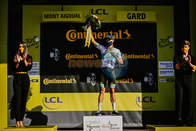 Kazakh Champion Alexey Lutsenko (KAZ) Astana Pro Team wins Stage 6 of Tour de France 2020, running 191km from Le Teil to Mont Aigoual, France. 3rd September 2020.<br /> Picture: ASO/Pauline Ballet | Cyclefile<br /> All photos usage must carry mandatory copyright credit (© Cyclefile | ASO/Pauline Ballet)