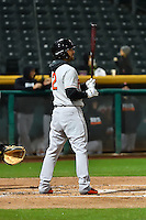Andrew Aplin (2) of the Fresno Grizzlies at bat against the Salt Lake Bees in Pacific Coast League action at Smith's Ballpark on April 13, 2016 in Salt Lake City, Utah. The Grizzlies defeated the Bees 6-0. (Stephen Smith/Four Seam Images)