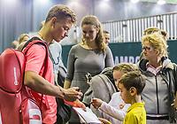 Rotterdam, Netherlands, 11 februari, 2018, Ahoy, Tennis, ABNAMROWTT, Practise, Tim van Rijthoven signing autographs<br /> Photo: Henk Koster/tennisimages.com