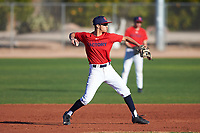 Cole Parker (43), from Los Angeles, California, while playing for the Red Sox during the Under Armour Baseball Factory Recruiting Classic at Gene Autry Park on December 30, 2017 in Mesa, Arizona. (Zachary Lucy/Four Seam Images)