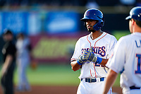 Tennessee Smokies right fielder Brennen Davis (21) at first base during the game against the Rocket City Trash Pandas at Smokies Stadium on June 12, 2021, in Kodak, Tennessee. (Danny Parker/Four Seam Images)