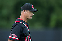 Jeremy Owens (11) of the New Jersey Jackals coaches third base during the game against the Sussex County Miners at Skylands Stadium on July 29, 2017 in Augusta, New Jersey.  The Miners defeated the Jackals 7-0.  (Brian Westerholt/Four Seam Images)