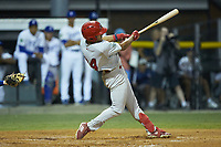 Trejyn Fletcher (34) of the Johnson City Cardinals follows through on his swing against the Burlington Royals at Burlington Athletic Stadium on September 4, 2019 in Burlington, North Carolina. The Cardinals defeated the Royals 8-6 to win the 2019 Appalachian League Championship. (Brian Westerholt/Four Seam Images)