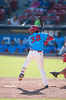 Spokane Indians designated hitter Sherten Apostel (38) at bat during a Northwest League game against the Vancouver Canadians at Avista Stadium on September 2, 2018 in Spokane, Washington. The Spokane Indians defeated the Vancouver Canadians by a score of 3-1. (Zachary Lucy/Four Seam Images)