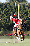 WELLINGTON, FL - JANUARY 08:  #1 Gillian Johnston of Coca Cola takes a shot on goal, against the Grand Champions Polo Club, during the early rounds of the Joe Barry Memorial Cup, at the International Polo Club, Palm Beach on January 03, 2017 in Wellington, Florida. (Photo by Liz Lamont/Eclipse Sportswire/Getty Images)