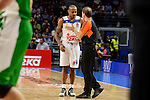 Real Madrid's player Dontaye Draper talking with the referee during match of Turkish Airlines Euroleague at Barclaycard Center in Madrid. November 24, Spain. 2016. (ALTERPHOTOS/BorjaB.Hojas)