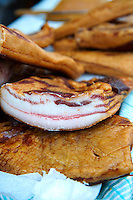 Hungarian Mangalicsa (Mangalitsa) smoked fat pig meat ptoducts. Food photos.