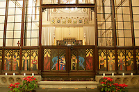 The interior of the Crimean Church in Beyoglu, Istanbul, Turkey, showing the rood screen with paintings by Mungo McCosh