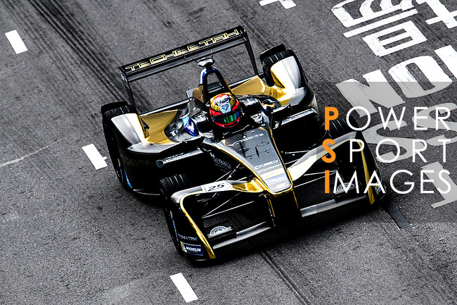 Jean-Eric Vergne of Techeetah Racing team during the first stop of the FIA Formula E Championship HKT Hong Kong ePrix at the Central Harbourfront Circuit on 9 October 2016, in Hong Kong, China. Photo by Marcio Rodrigo Machado / Power Sport Images