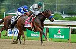August 28, 2021: Gamine #1, ridden by jockey John Velazquez wins the Grade 1 Ballerina Handicap at Saratoga Race Course in Saratoga Springs, N.Y. on August 28th, 2021. Scott Serio/Eclipse Sportswire/CSM