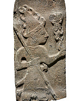 Hittite monumental relief sculpture ofa God probably holding lightning rods. Late Hittite Period - 900-700 BC. Adana Archaeology Museum, Turkey. Against a white background