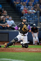 """Akron RubberDucks catcher Logan Ice (9) during an Eastern League game against the Erie SeaWolves on August 30, 2019 at Canal Park in Akron, Ohio.  Akron wore special jerseys with the slogan """"Fight Like a Kid"""" during the game for Akron Children's Hospital Home Run for Life event, the design was created by 11 year old Macy Carmichael.  Erie defeated Akron 3-2.  (Mike Janes/Four Seam Images)"""
