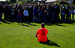 Dion Charles of AFC Fylde watches the celebrating North Ferriby players and fans. Vanarama National League North, Promotion Final, North Ferriby United v AFC Fylde, 14th May 2016.